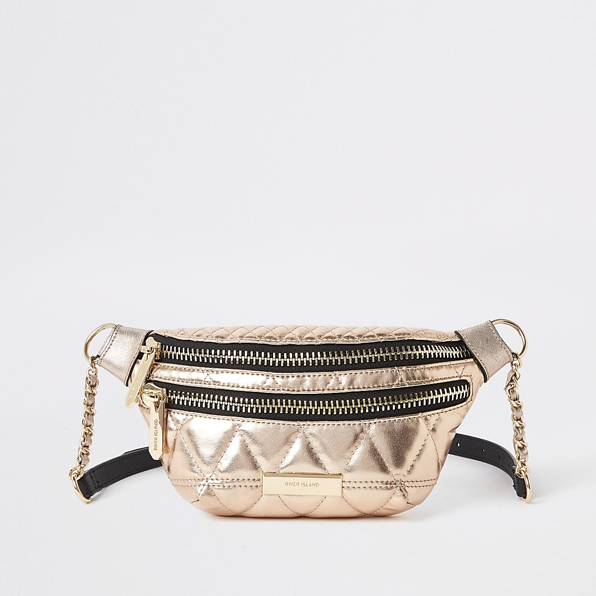 Rose gold double zip belted bum bag