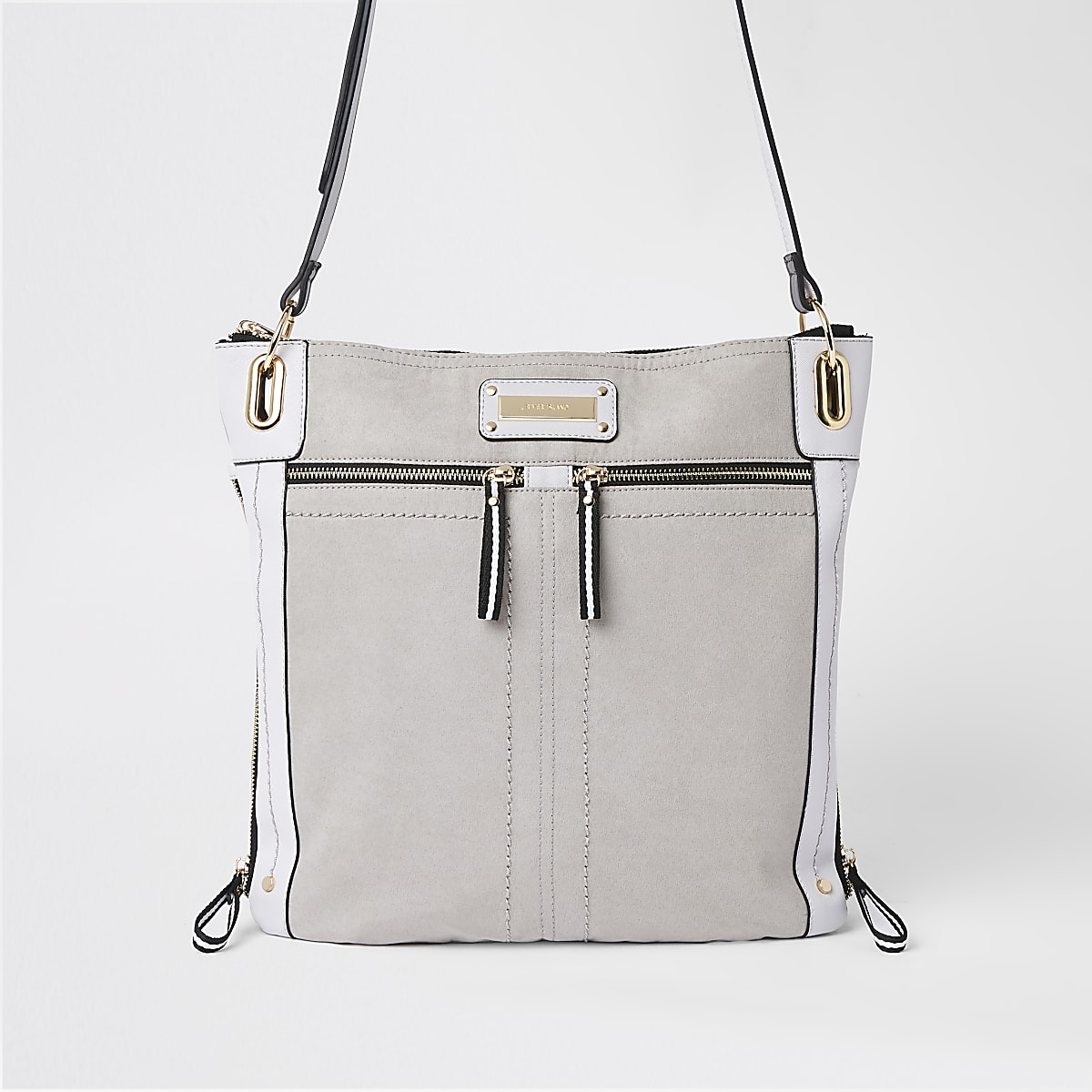 0ef89632b381c5 Grey double zip detail messenger bag - Cross Body Bags - Bags & Purses -  women