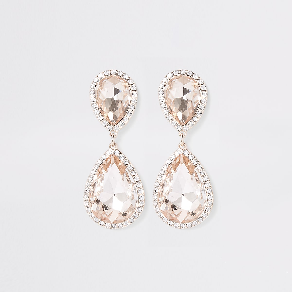 Rose gold diamante stone drop earrings