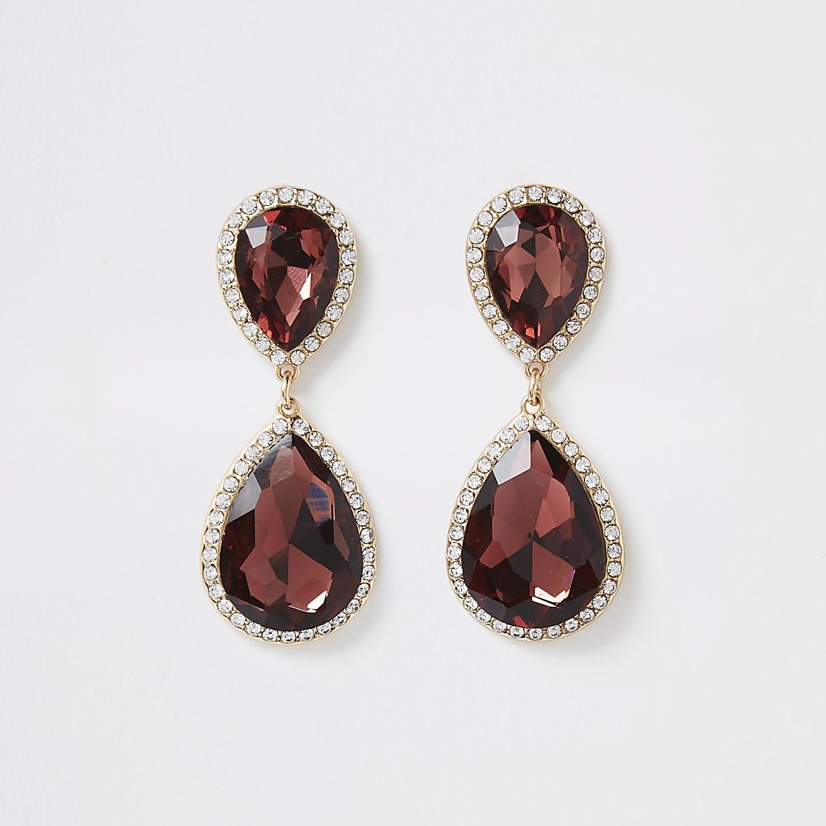 Gold tone burgundy jewel drop earrings