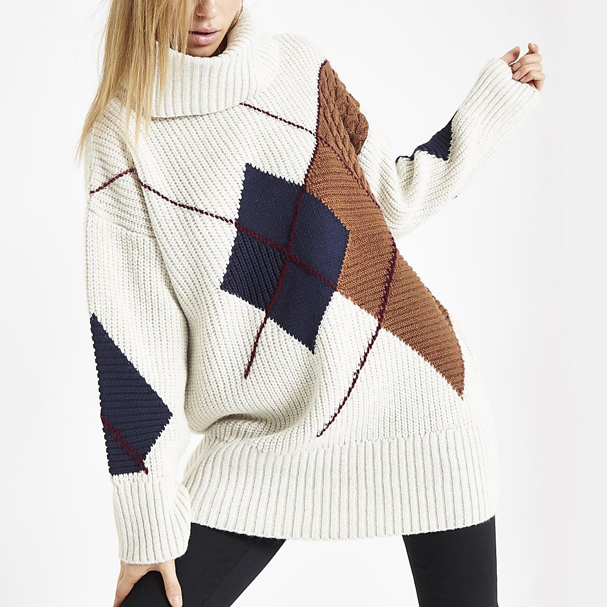 Cream argyle roll neck knit sweater