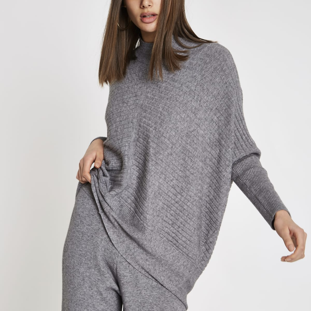 Grijze geribbeld gebreide hoogsluitende pullover met lange mouwen