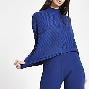 Donkerblauwe gebreide hoogsluitende pullover met lange mouwen
