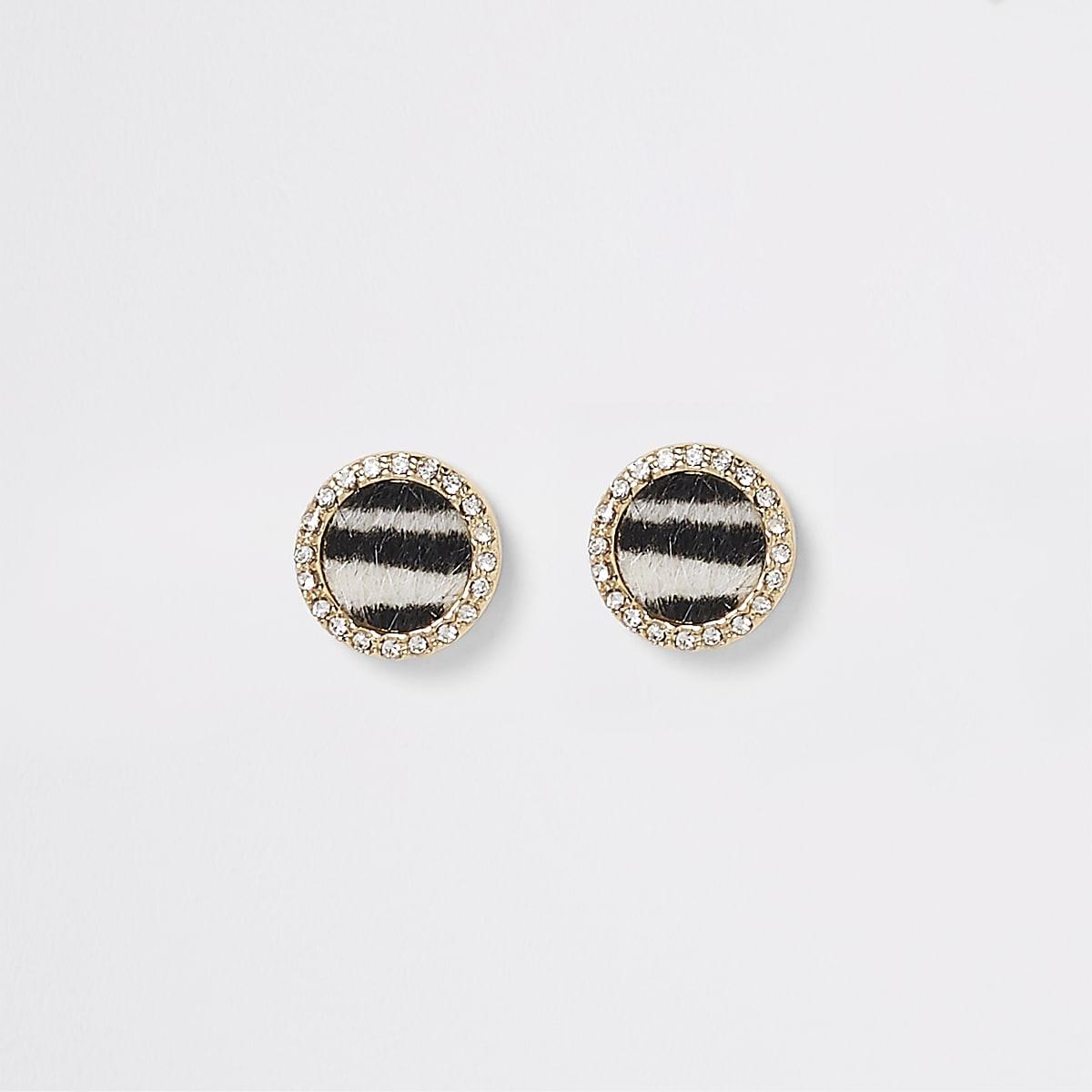 Zwarte oorknopjes met zebraprint en siersteentjes