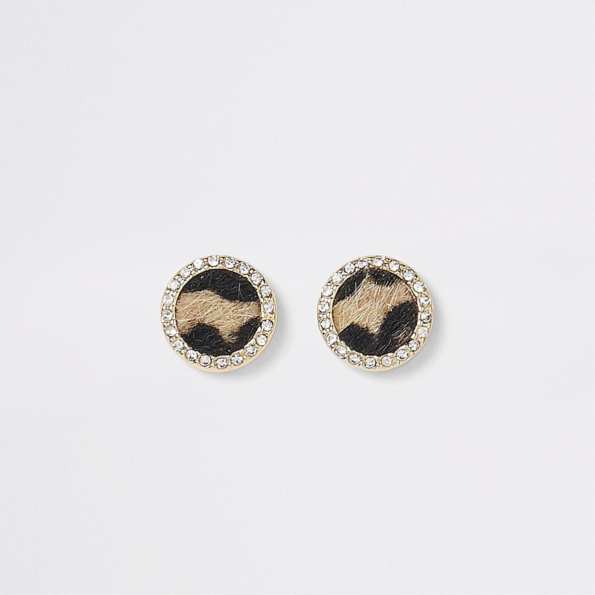 Brown leopard print rhinestone stud earrings