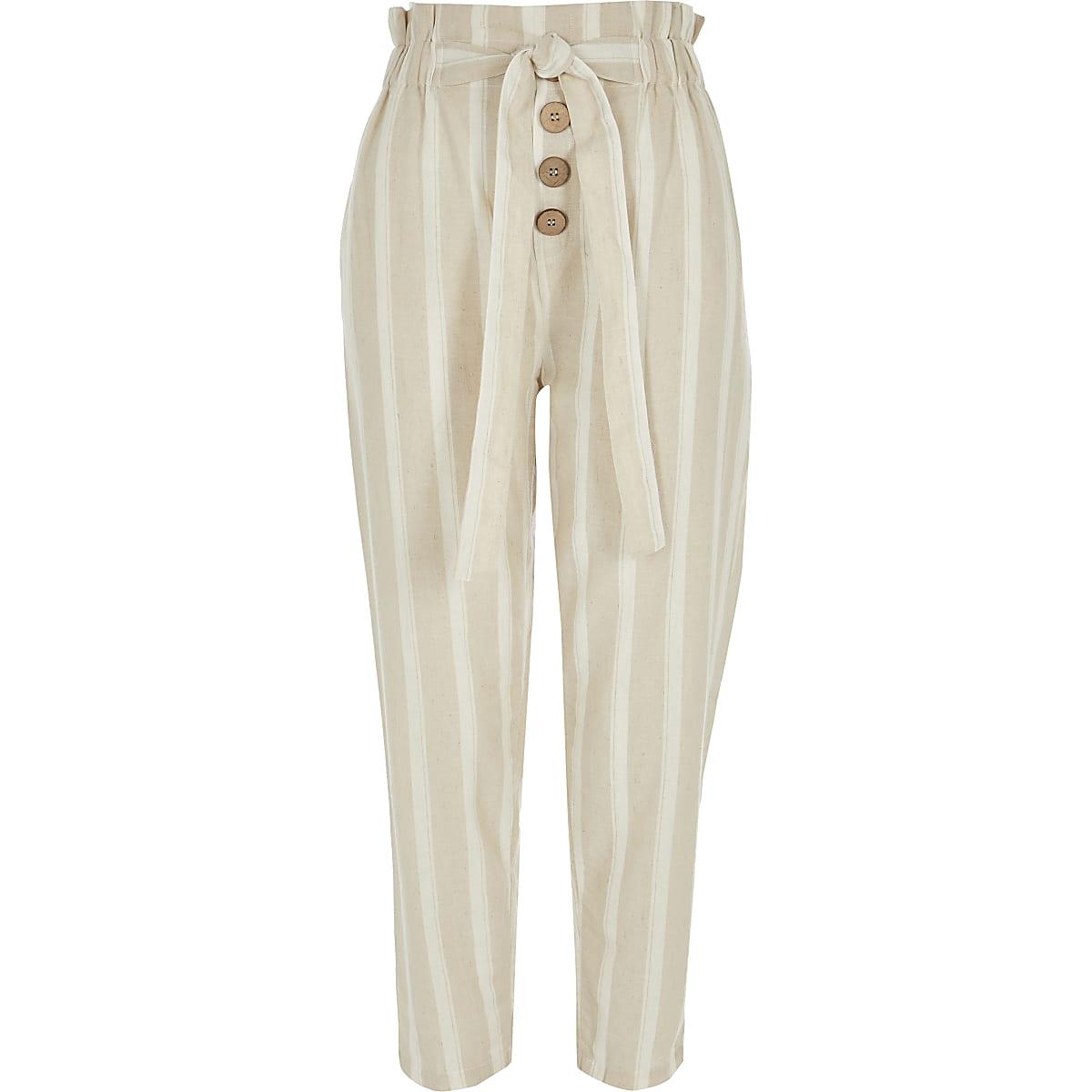 3d2f7341acb00 Beige stripe paperbag peg trousers