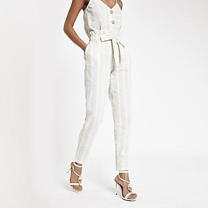 Beige stripe paperbag peg trousers