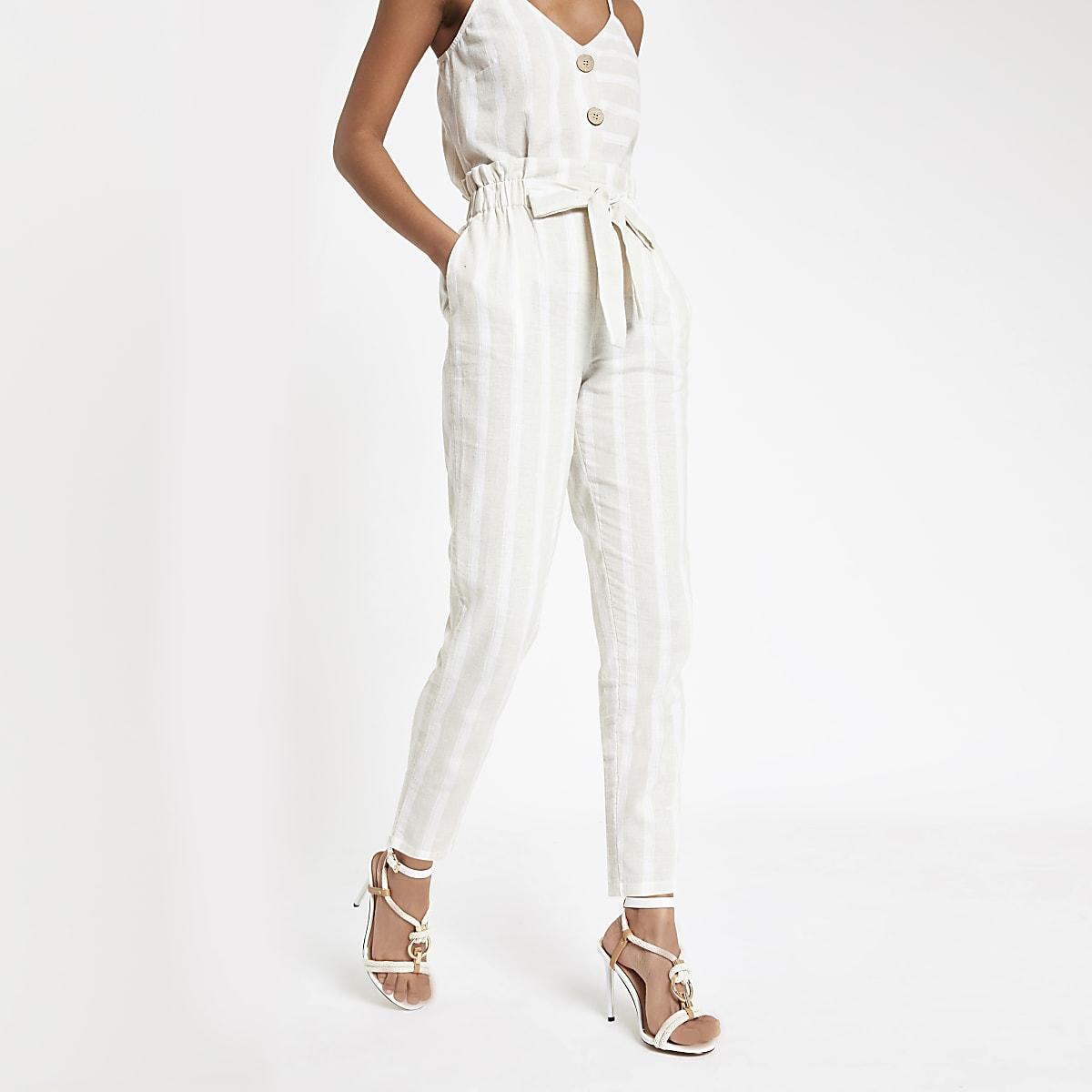 Beige stripe paperbag peg pants