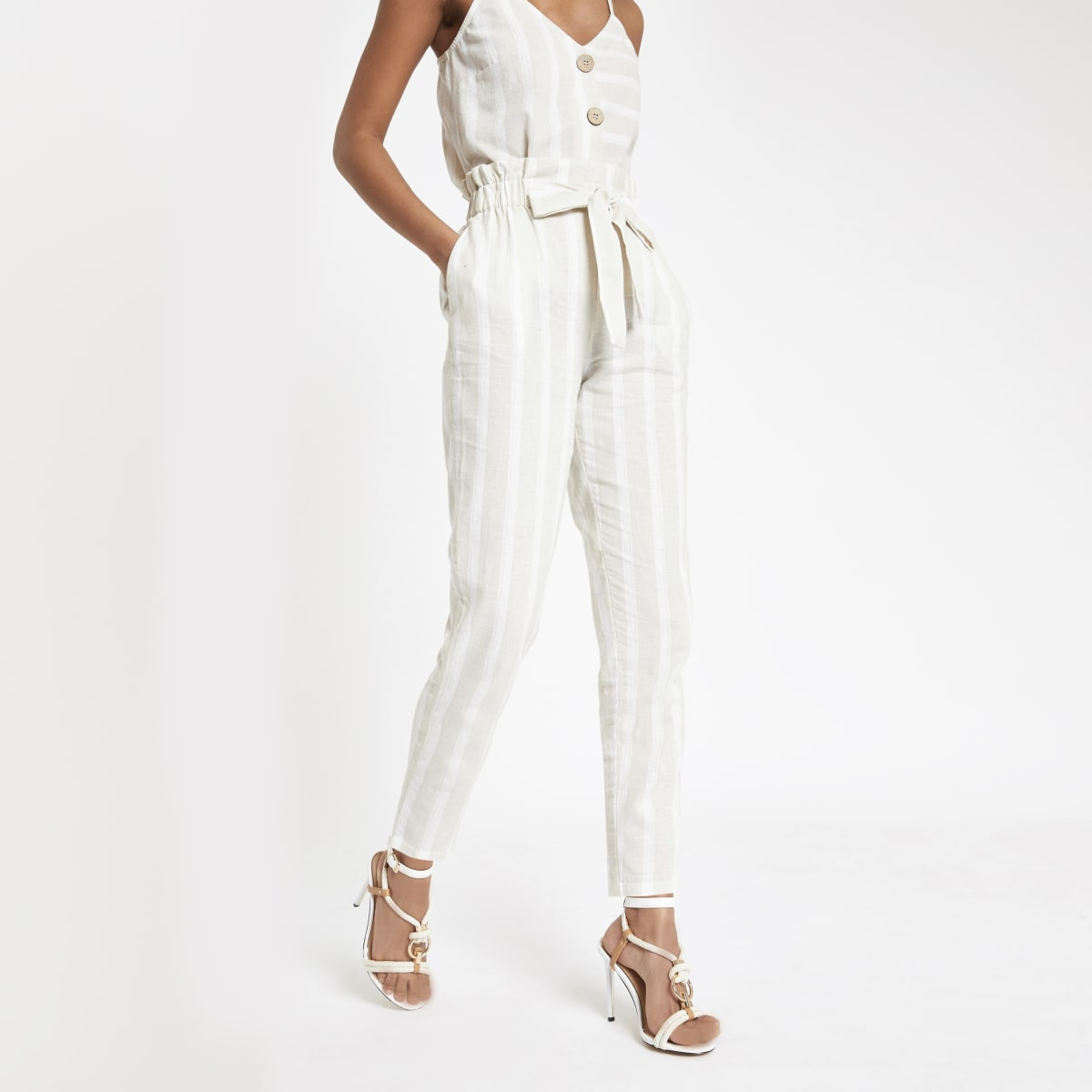 Beige stripe paperbag peg trousers