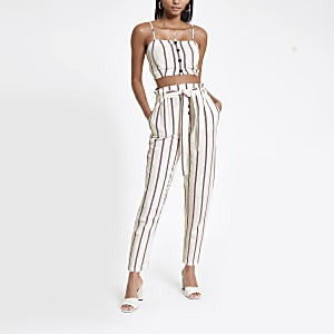Red stripe tie waist peg pants