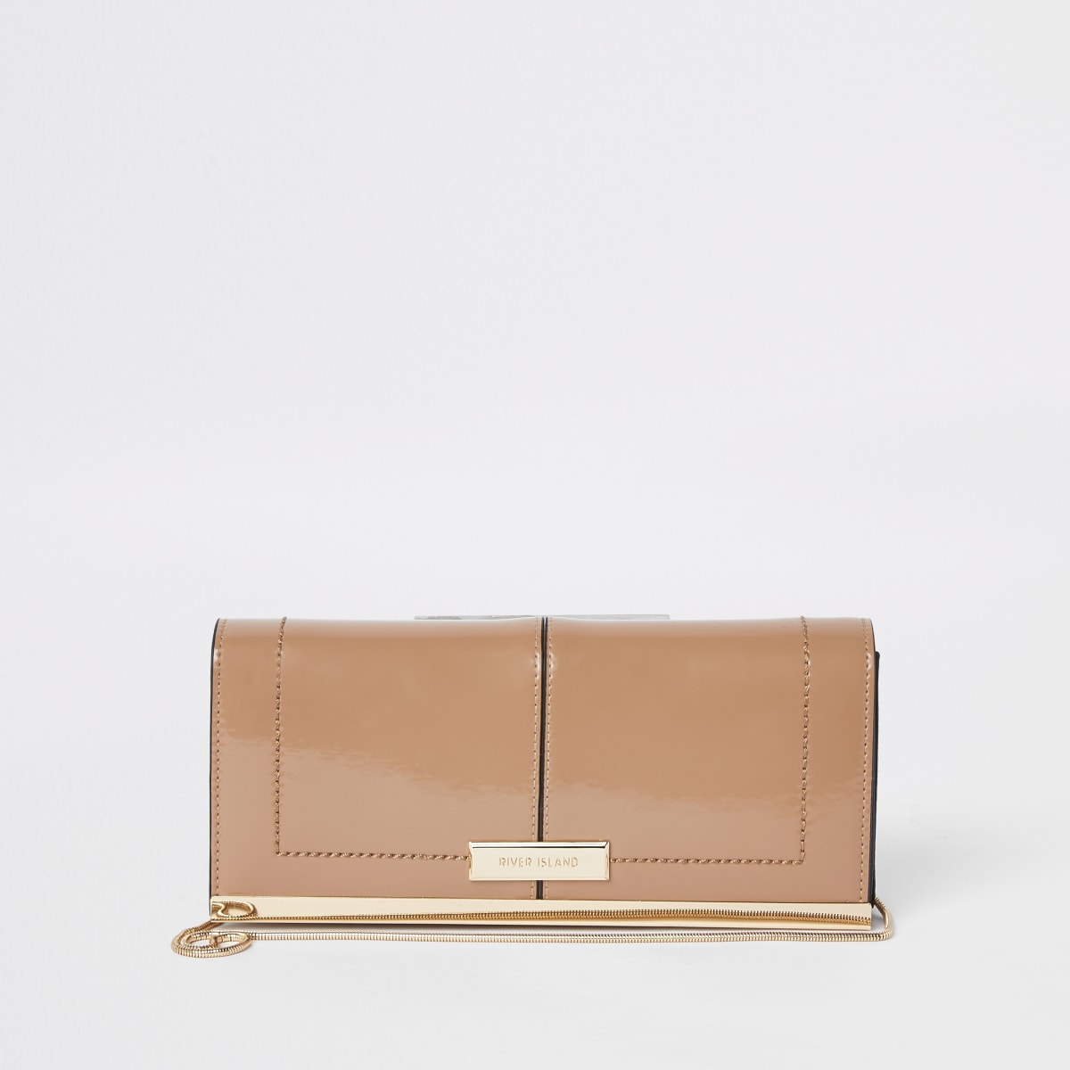 Light pink patent front clutch