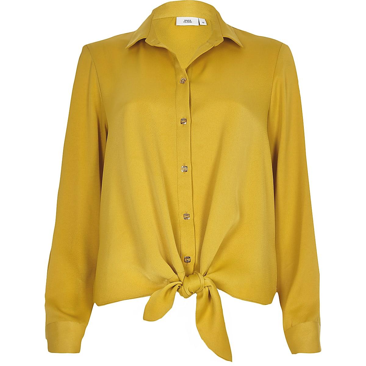 Geel Overhemd.Geel Overhemd Met Strik Voor En Lange Mouwen Overhemden Tops Dames