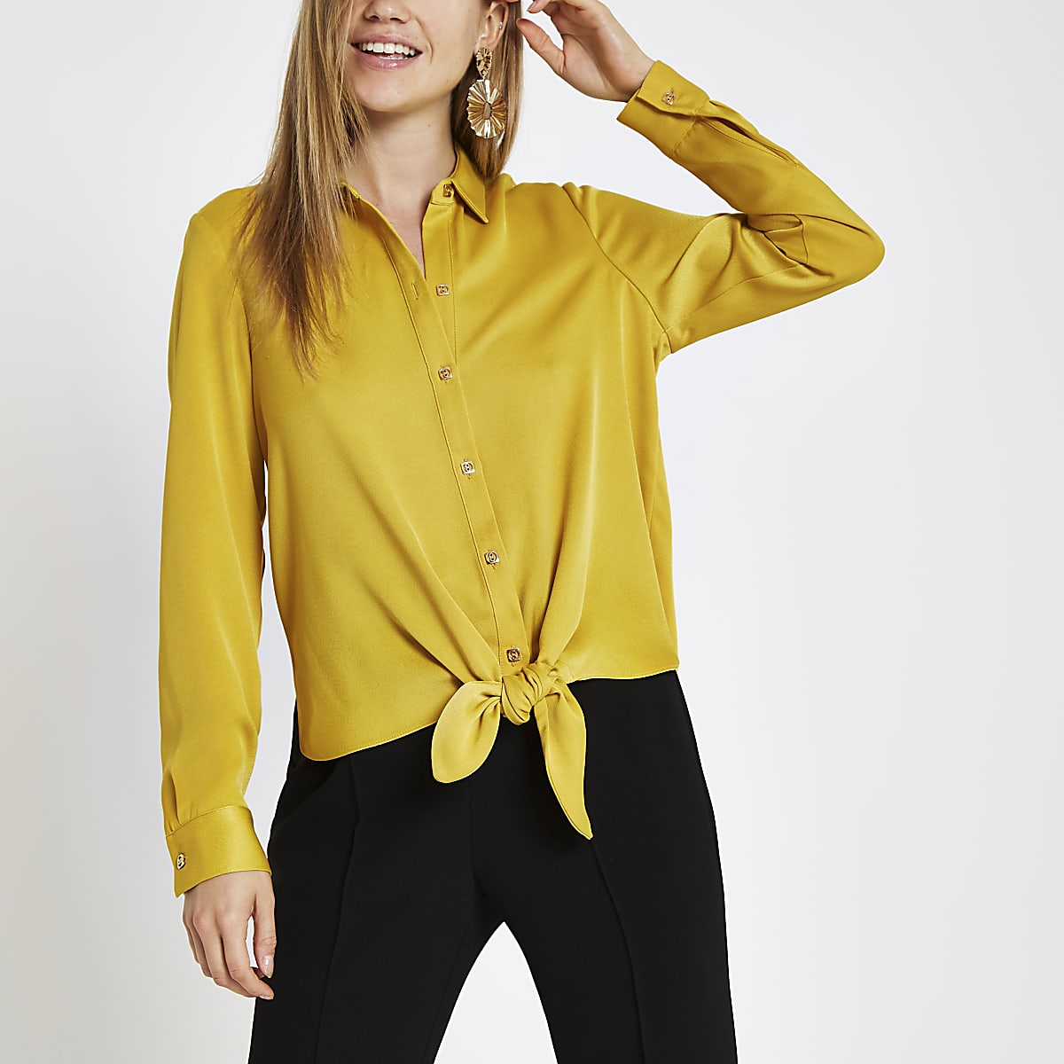 Yellow tie front long sleeve shirt