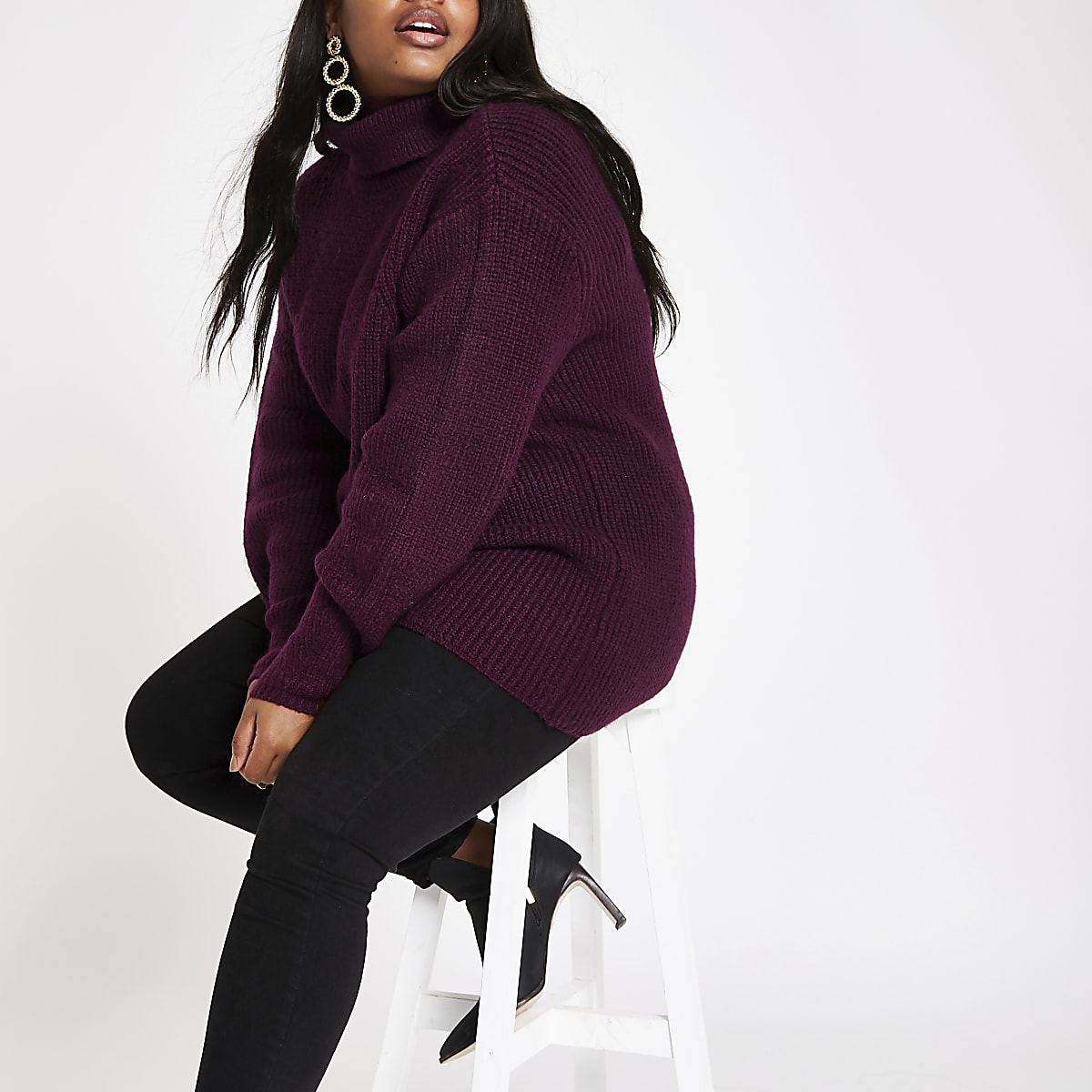 Plus burgundy chunky knit roll neck jumper