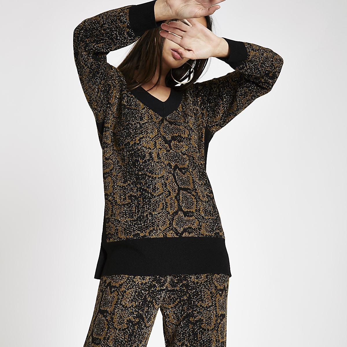 Black knit snake print V neck jumper
