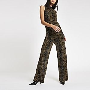 Black knit snake print wide leg pants