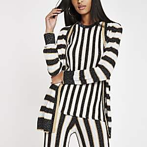 Black metallic stripe knit cardigan