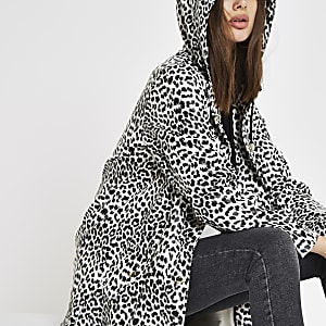 White leopard print hooded raincoat