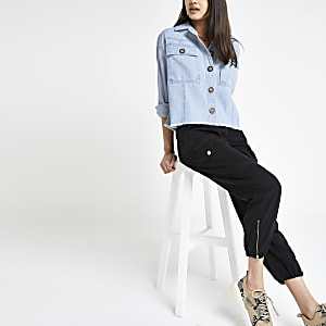 Blauw denim cropped jack
