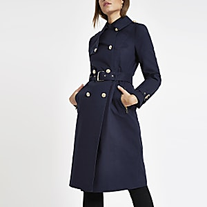 d0a8b7628fe Navy double breasted belted trench coat