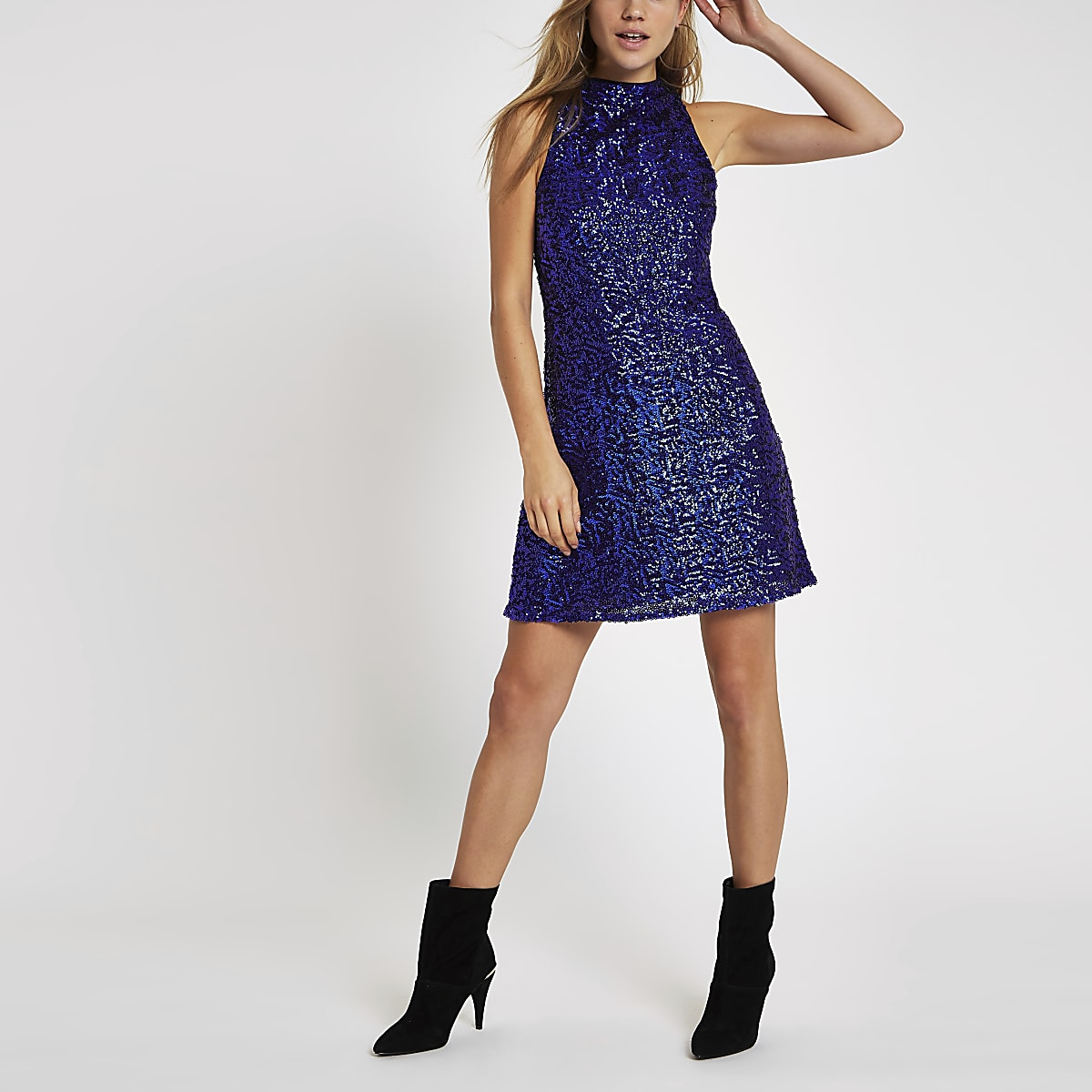 Bright blue sequin sleeveless swing dress