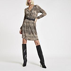 Brown plisse snake print waisted mini dress