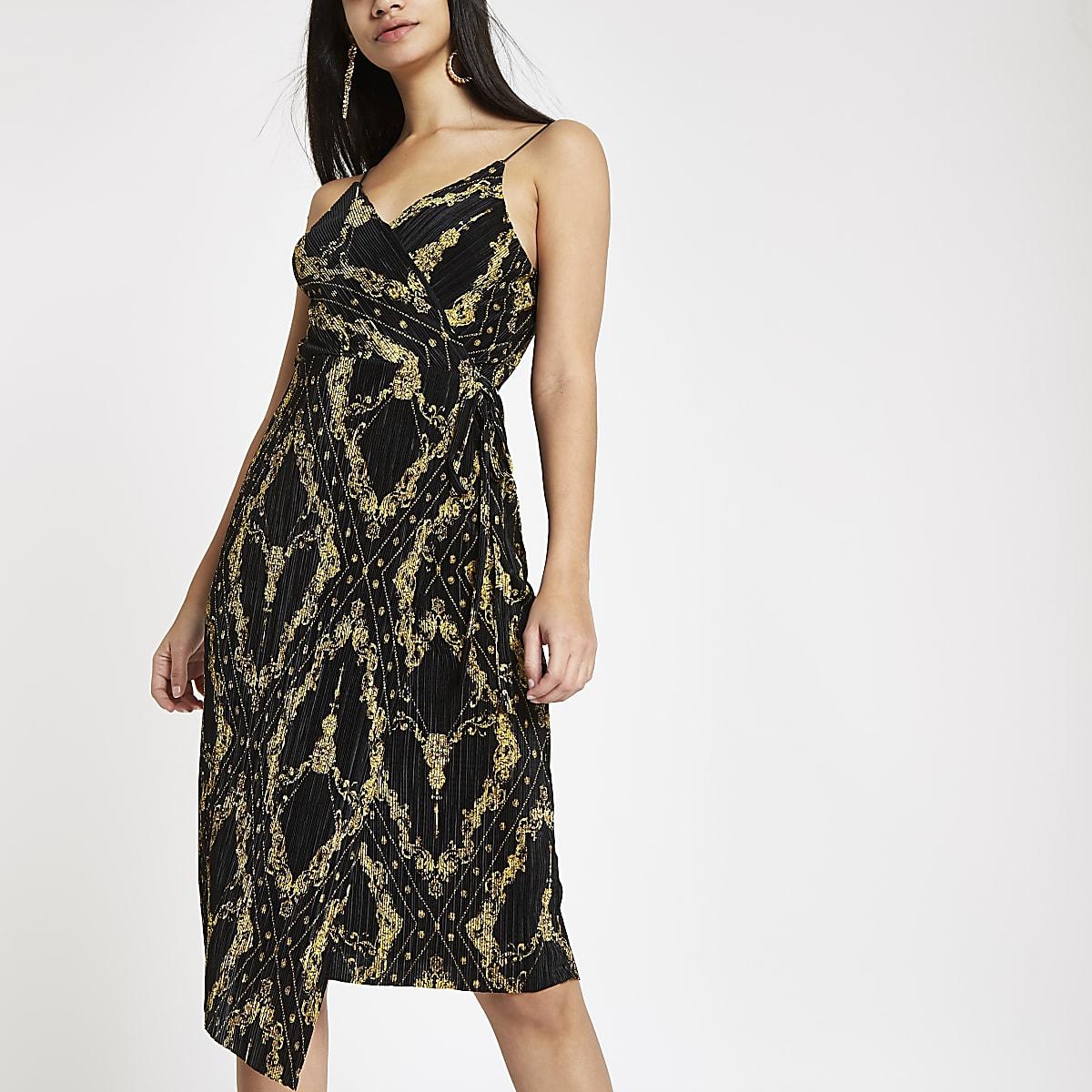 Black plisse chain print waisted midi dress