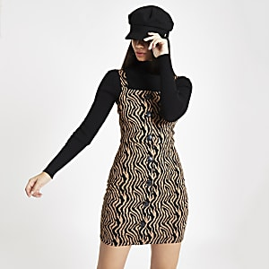 Brown zebra print pinafore mini dress
