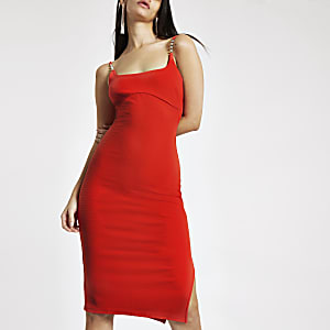 Red ribbed rhinestone trim midi dress