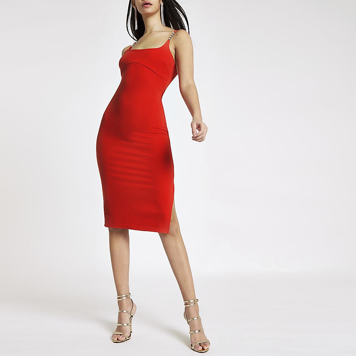 e581831facd6 Red ribbed diamante trim midi dress - Bodycon Dresses - Dresses - women