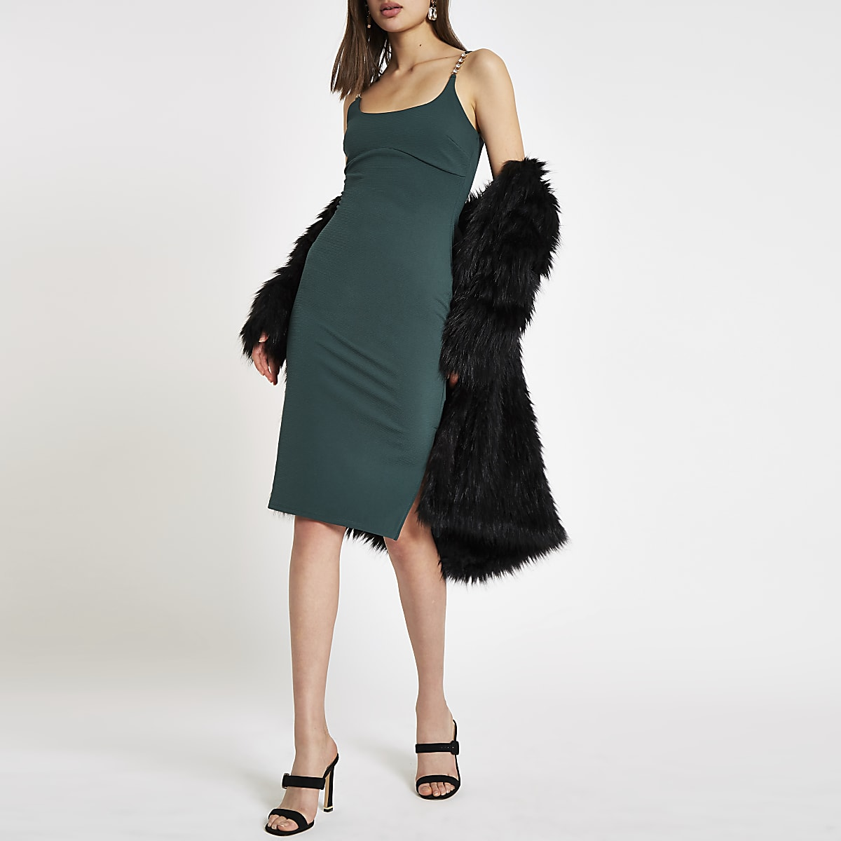 Dark green ribbed rhinestone trim bodycon dress