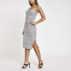 Grey snake ribbed rhinestone trim midi dress