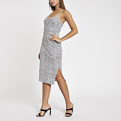 Grey snake ribbed diamante trim midi dress