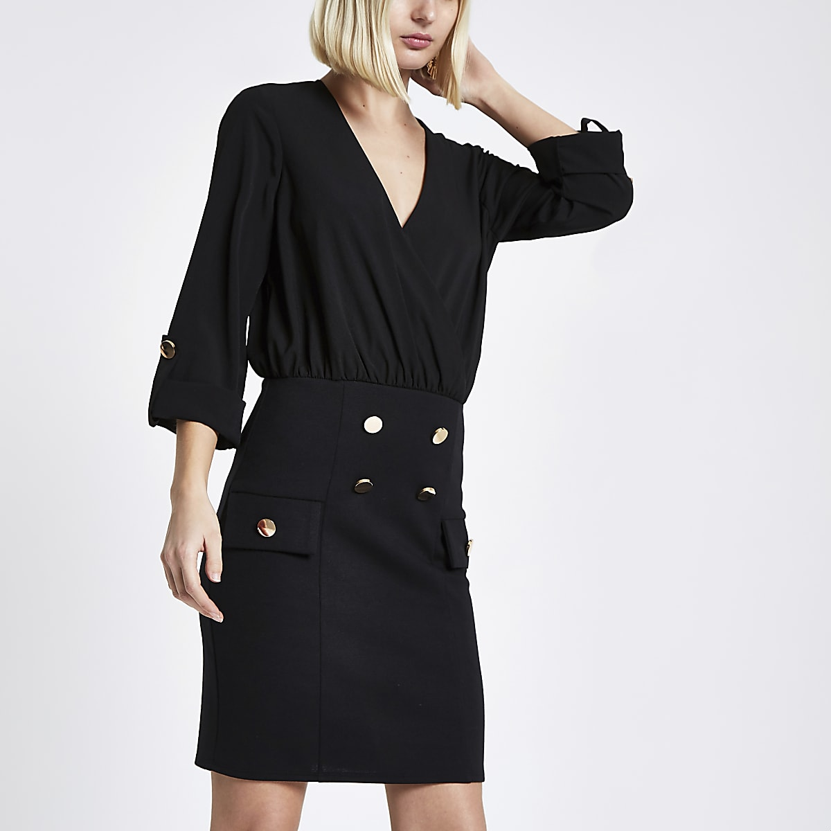 Black shirt and button mini dress