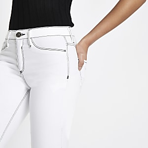 White Molly rip hem jeggings