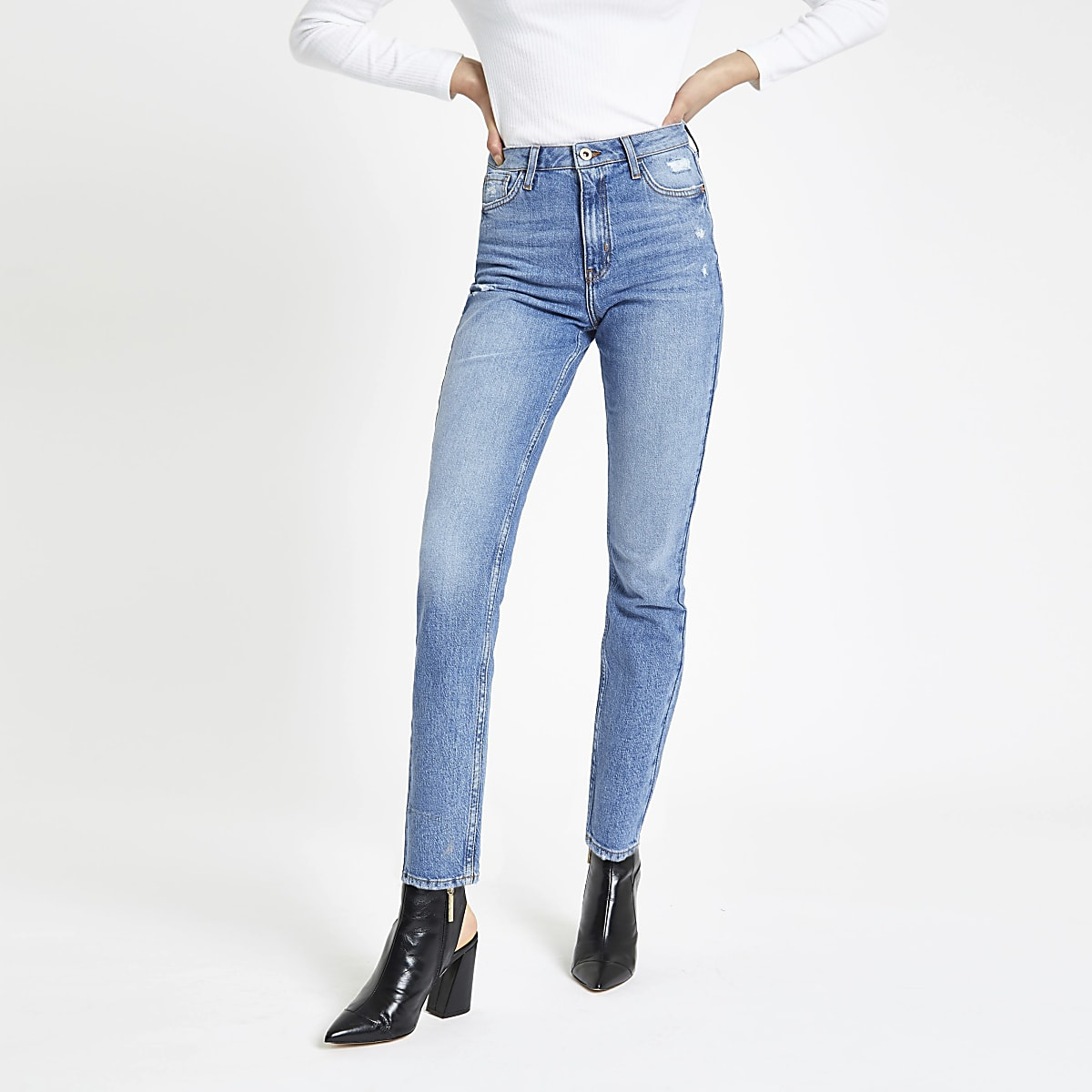 Mid blue Original skinny fit rigid jeans