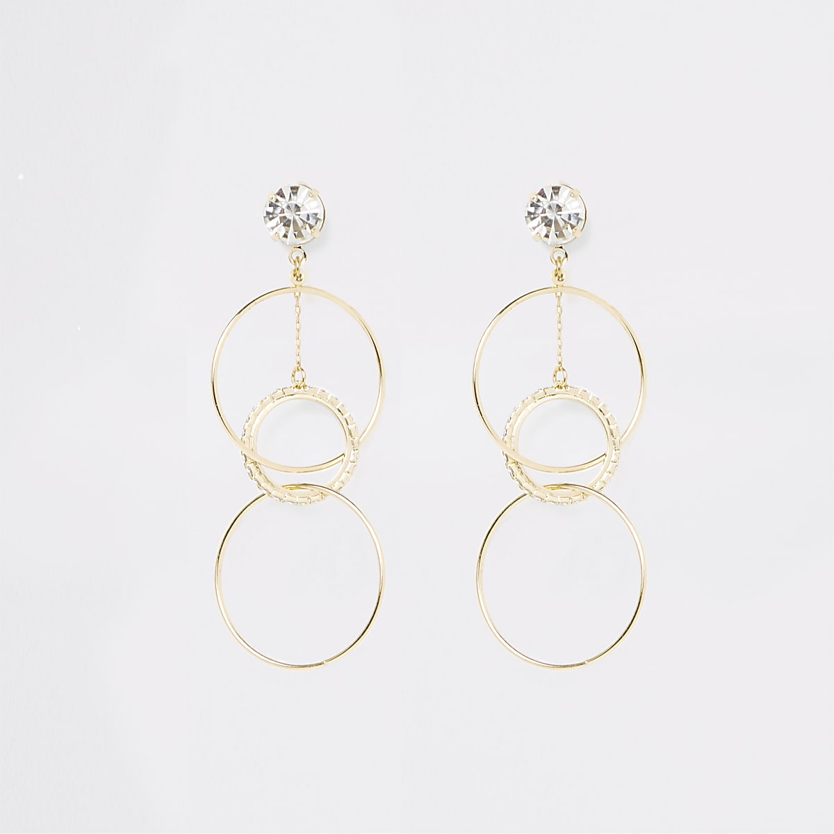 Gold colour diamante interlink drop earrings