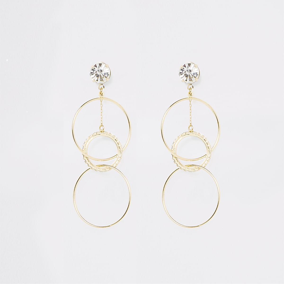 Gold color rhinestone interlink drop earrings