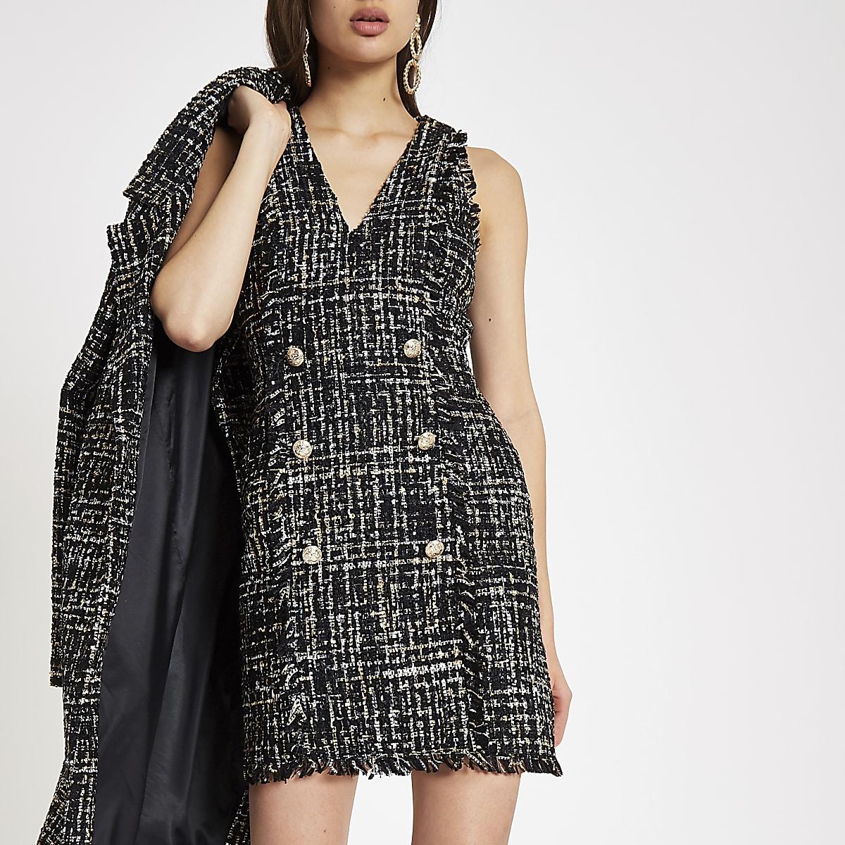 Black boucle sequin mini dress