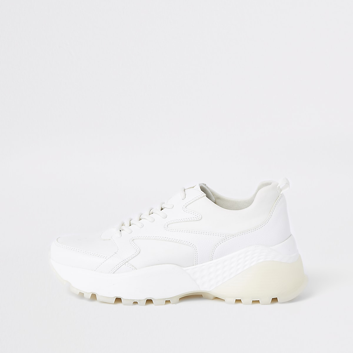 White layered sole lace-up trainers