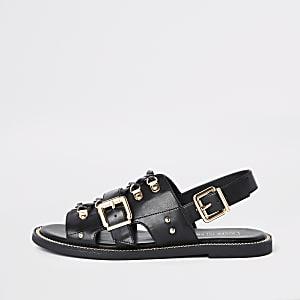 Sandales en cuir synthétique noires à chaîne