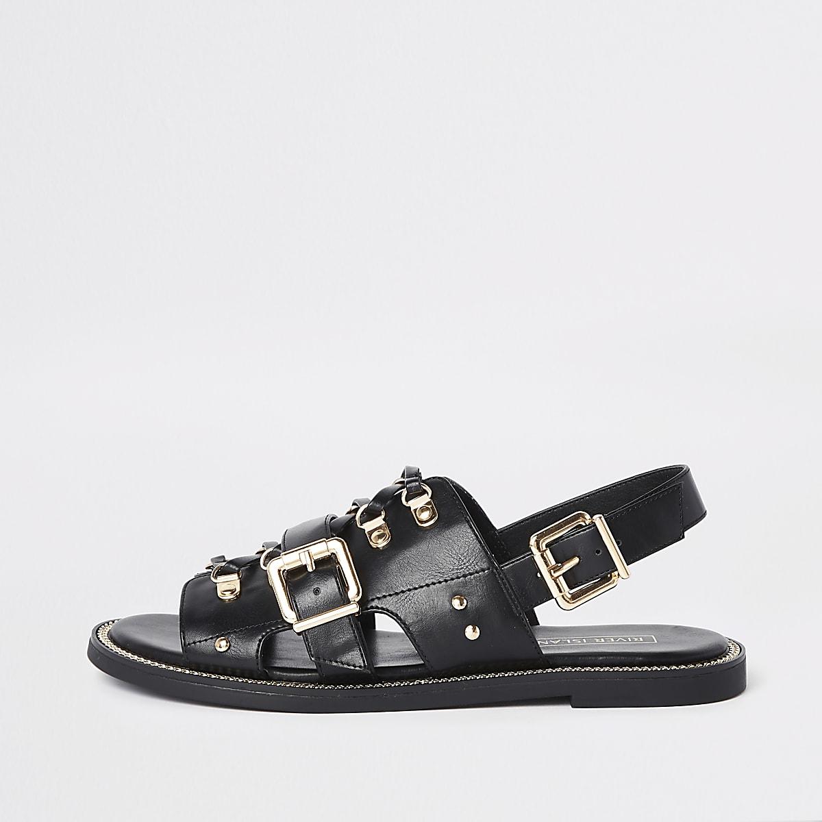 Black faux leather chain trim sandals