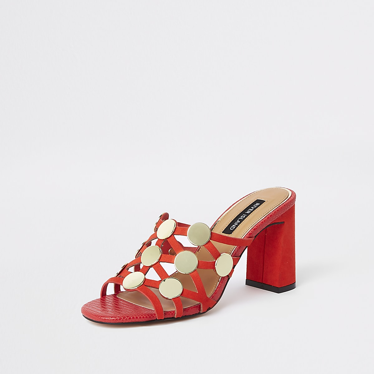 904a87280f Red circle caged block heel sandals - Sandals - Shoes & Boots - women