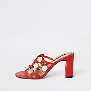 Red circle caged block heel sandals