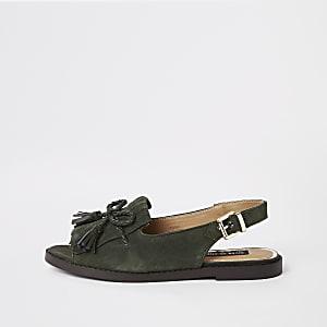 Kaki suède peeptoe sandalen met kwastjes voor