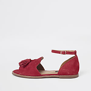 Red suede tassel two part shoes