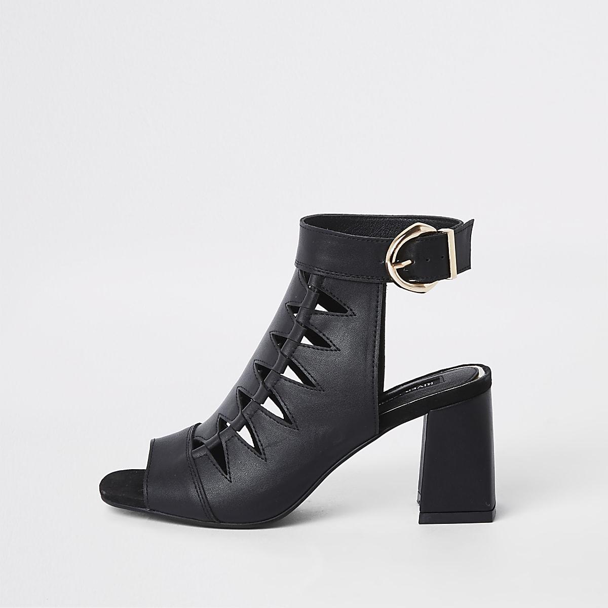 Black cut out shoe wide fit boot