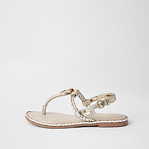Light pink toe thong sandals