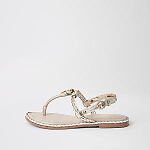 Sandalen in Hellrosa mit Zehensteg