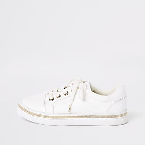 White espadrille trim lace-up sneakers